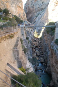 eine kleine Brücke über die Schlucht
