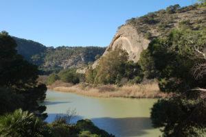Auf dem Weg hinab durcch den Wald vom Tunnel zum Eingang des Caminito, sieht man auf einen Bergsee unter eine Felswand.