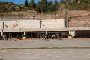 Der Bahnhof an welchem die Zahnradbahn den Berg zum Kloster Montserrat erklimmt.