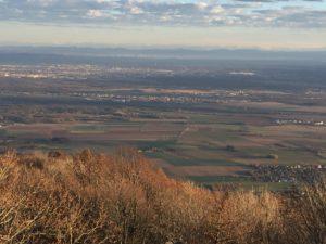 Das bild zeigt die elsässische Tiefebene. Bei gutem Wetter, wie hier reicht der Blick bis Mühlhausen und dahinter ist sogar noch Basel deutlich zu erkennen.