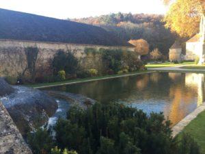 Der Forellenteich in der Abtei. Links ist eine abfallende Mauer, von welcher ständig frisches klares Wasser zugeführt wird.
