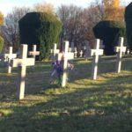 Ein mit lila Blumenschmuck versehenes Kreuz auf dem Soldatenfroedhof HWK