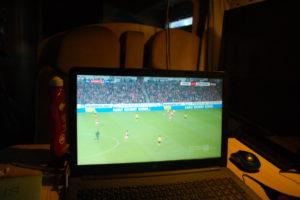 Spiel Mainz - Dortmund gestreamt auf dem Notebook